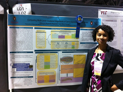 "FASEB MARC Travel Award Winner, Deborah Muganda-Rippchen (University of Wisconsin-Madison) at ISMB 2012 in Long Beach, CA. 07.17.12.  Poster Title:  ""Computing Multi-Level Clustered Alignments of Gene-Expression Time Series"""