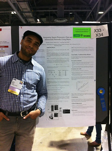 """FASEB MARC Travel Award Winner, Robert Ness of Purdue University.  Presenting his poster at ISMB 2012.  """"Integrating sparse data and """"omics"""" networks using Bayes."""
