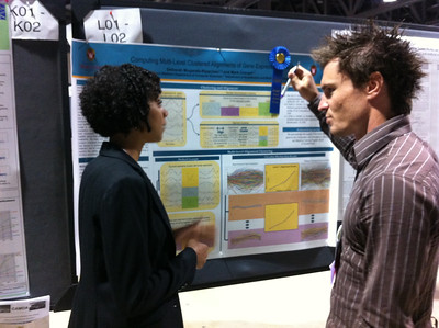 """FASEB MARC Travel Award Winner, Deborah Muganda-Rippchen (University of Wisconsin-Madison) presenting her poster at ISMB 2012 in Long Beach, CA. 07.17.12.  Poster Title:  """"Computing Multi-Level Clustered Alignments of Gene-Expression Time Series"""""""