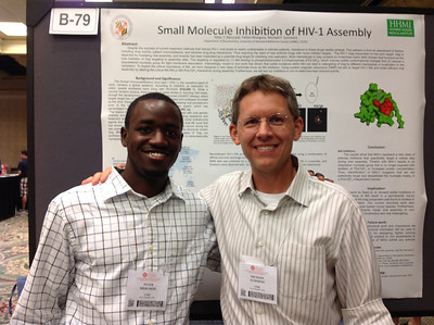 PhD student, Peter Mercredi of the University of Maryland Baltimore County poses with his mentor, Dr. Michael Summers at the 26th Annual Symposium of The Protein Society in San Diego.