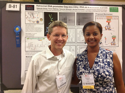 FASEB MARC Travel Award Winner, Deborah Girma, of the University of Maryland Baltimore County poses with her mentor, Dr. Michael Summers at the 26th Annual Symposium of The Protein Society in San Diego.
