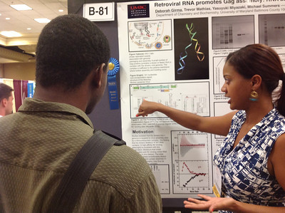 FASEB MARC Travel Award Winner, Deborah Girma, of the University of Maryland Baltimore County presents her poster at the 26th Annual Symposium of The Protein Society in San Diego.