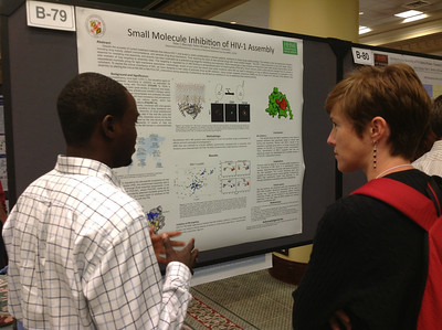 PhD student, Peter Mercredi of the University of Maryland Baltimore County presents his poster at the 26th Annual Symposium of The Protein Society in San Diego