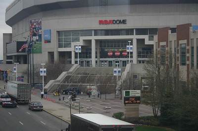 Outside of the RCA Dome,  where several vehicle manufacturers show their trucks.