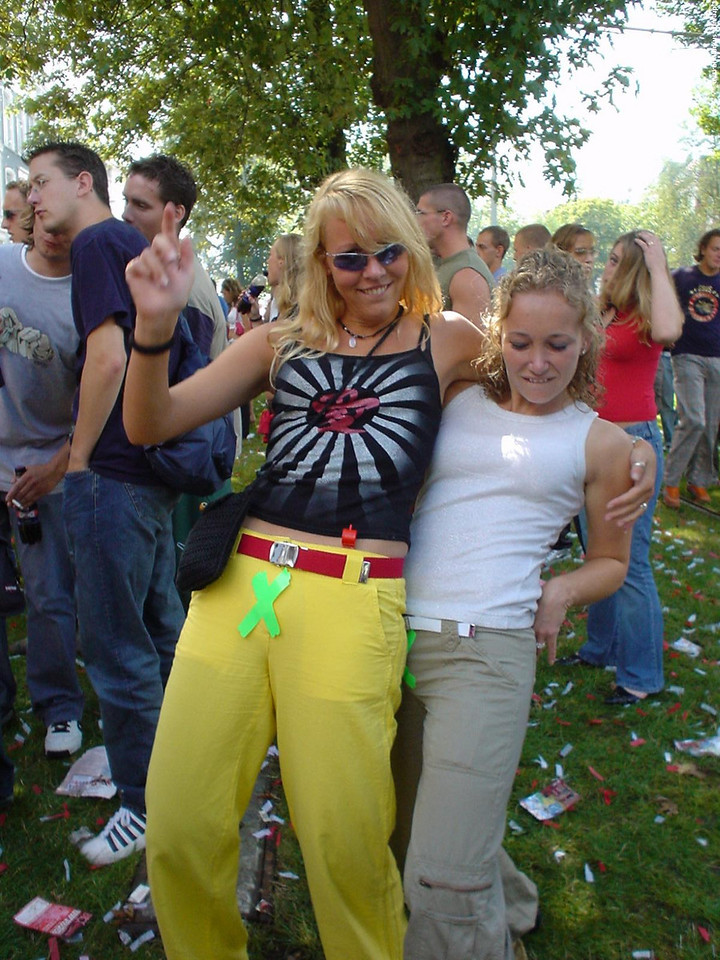 """Isabel and Anke, showing off the Club X """"membership"""""""