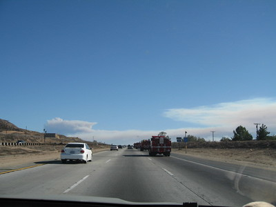 10/23/07  Line of CDF fire engines heading south on I-15 at Lake Elsinore towards the San Diego fires. Rice Canyon Fire (Fallbrook) & Poomacha Fire (Palomar Mountain) visible up ahead.