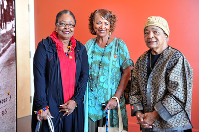 """FREEDOM SISTERS""  Grand opening an interactive exhibition honoring 20 African American Womemn who have worked for freedom and equality in America. Sonia Sanchez and Myrlie Evers-Williams featured honorees at the invitation only reception. The exhibit displays 43 past and present honorees. Honorees Rosie Lee Hooks, Peggy Damen Priestly, and Semila Lewis Valerie Goodloe"