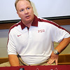 Mark Stoops talks to the media during Media Day at Doak Campbell Stadium on August 14th.