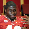 Jeff Luc talks to the media during Media Day at Doak Campbell Stadium on August 14th.
