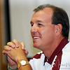 Head Coach Jimbo Fisher talks to the media during Media Day at Doak Campbell Stadium on August 14th.
