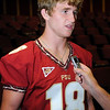 Dustin Hopkins talks to the media during Media Day at Doak Campbell Stadium on August 14th.