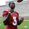 EJ Manuel throws the ball up in the air during Media Day at Doak Campbell Stadium on August 14th.