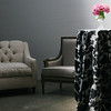 Light Grey Sofa, French Style Chairs, Black & White Garden Linens,