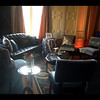 Blue Velvet Chairs and Black Leather Sofa