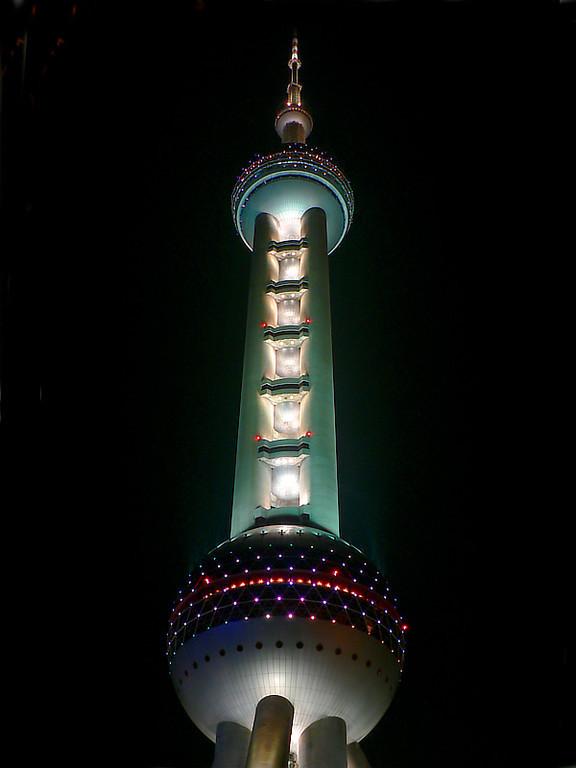 Pearl TV tower at night.