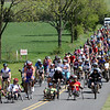 """Face of America 2008 bike ride - the final leg always has the entire group finishing together to celebrate the achievement of all participants and be true to the motto """"We All Ride the Same Road"""""""