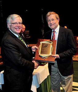 President Kopp with Dr. John Hubbard, professor of chemistry, Distinguished Service Award