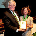 President Kopp (left) and Dr. Whitney Douglas, assistant professor of English, Pickens-Queen Excellence in Teaching Award