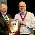 President Kopp (left) and Dr. Dan Holbrook, associate professor of history, Charles E. Hedrick Outstanding Faculty Award
