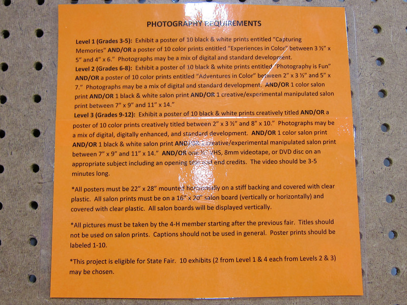Photography Requirements<br /> Elkhart County 4H Fair 2012