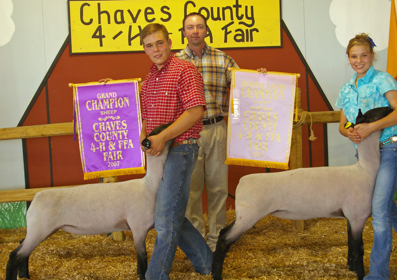 Cole and Jess with their Grand and Reserve Grand market lambs