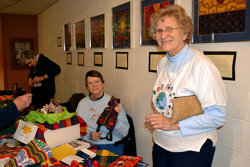 From left, Sisters Jeanette Buehler, Rosemary Lindemann, Marita Beumer sell items at the annual Fair Trade sale at Bergamo Center on Nov. 30.