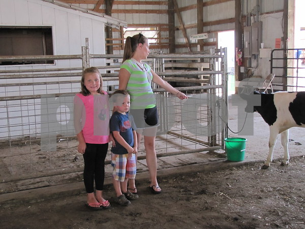 Melissa Donahe with her children Jiselle and Memphis were looking at the calves at the fair.