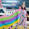 "John P. Cleary | The Herald Bulletin  <br /> Sarah Carman parades her ""Birthday Pinata Llama"" during the 4-H Llama/Alpaca Show."