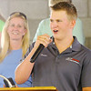 Don Knight | The Herald Bulletin<br /> Gunner Boon, 16, auctions the goat of his friend Miller Smith in his first live auction at the Madison County 4-H Fair on Thursday.