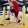 John P. Cleary | The Herald Bulletin<br /> Landon Bloyd, 10, leads his llama over the bar as they compete in the obstacle course during the 4-H Llama/Alpaca Fun Show Friday.