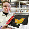 John P. Cleary | The Herald Bulletin<br /> Sierra Rich, 13, holds up her chicken craft she made for 4-H craft judging after attending a stained-glass workshop earlier this year. Rich received second place in her first time entering the contest.