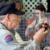 John P. Cleary | The Herald Bulletin<br /> Poultry judge Bob Gilbert takes a closer look at one of the entries during the 2019 Madison County 4-H Fair Poultry Show Monday.