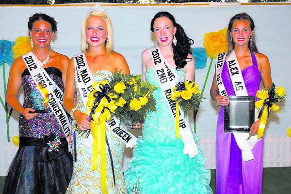 Madison County 4-H Fair Queen candidates pose following the crowning of Samantha Thurston Sunday night.