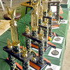 Trophies were lined up to be presented to the top winners in the 4-H Poultry Show judging Monday.