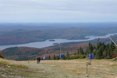 Hiking up the ski slope