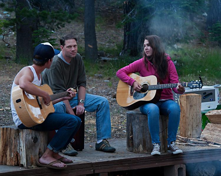 Ian, Doug and Christina leading worship Thursday evening.