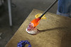 IMG_3129-kim-flower-making: adding more colors to the draw of glass, just to the end this time, where the flower blossom will be.