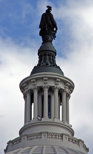 The Statue of Freedom atop the US Capitol.