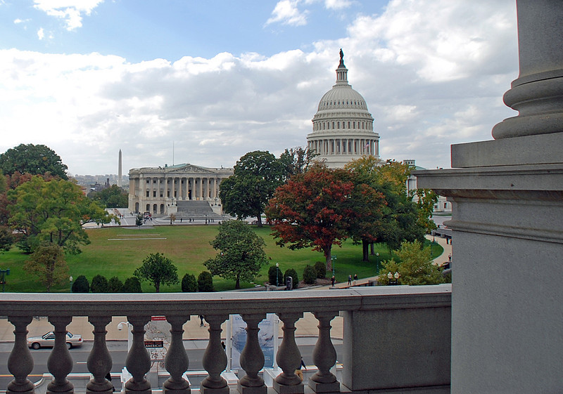 The US Capitol and the Washington Monument as seen from the US Library of Congress.