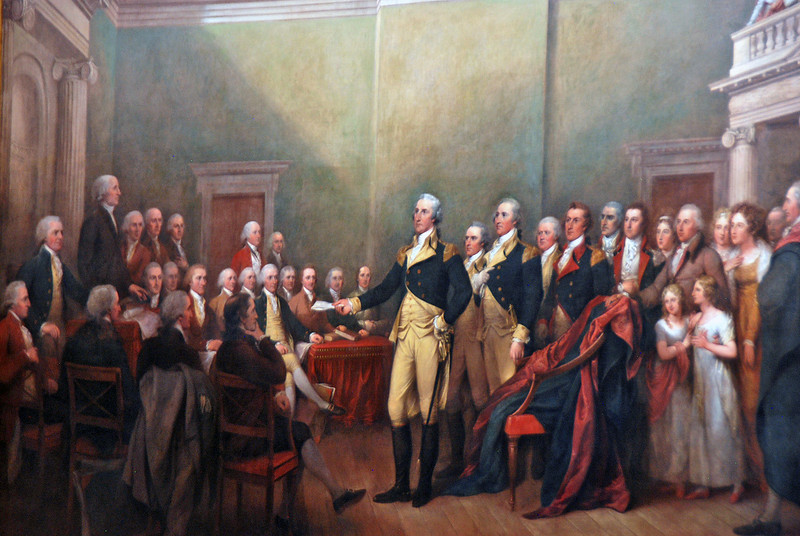 A painting in the Rotunda depicting General Washington resigning his commission.