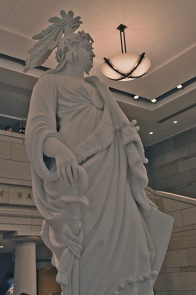 A model of the Statue of Freedom on display at the US Capitol Visitor Center.