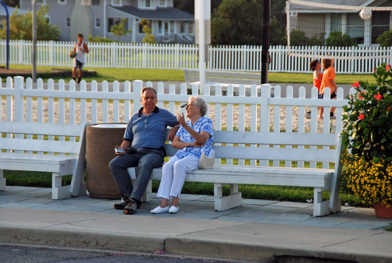 Cliff Main and his mom wait for the bus.