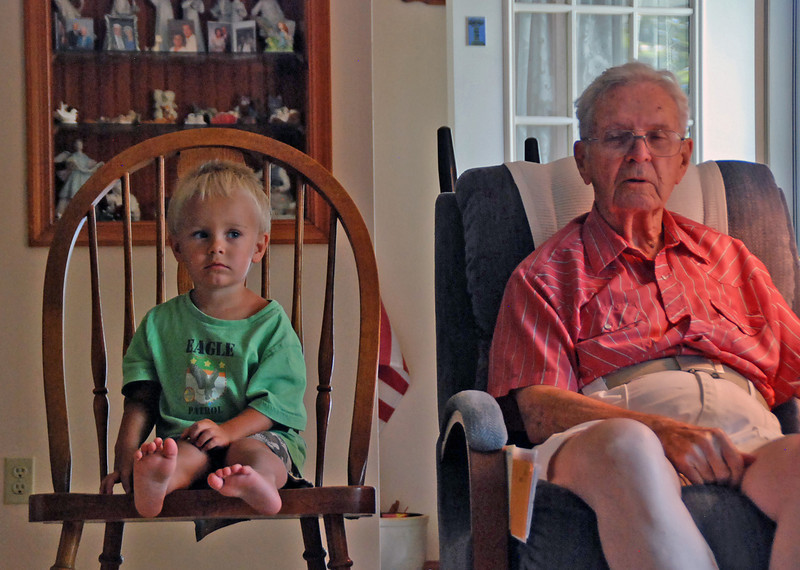 Taite Wood sits with his great-grandfather.