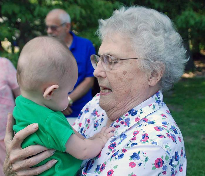 Kathleen Main holding great-grandson Parker.