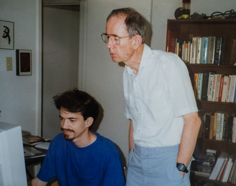 Helping Dad with his computer, 1996