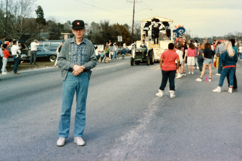Jim at a Slidell Mardi Gras parade, 1989