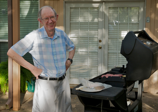 Grilling in 2010 in his Austin home