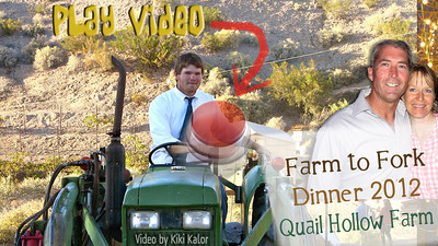Video of the 2nd annual Farm to Fork Dinner at Quail Hollow Farm in the Moapa Valley, 1 hour north of Las Vegas, NV. Over 100 guests enjoy farm fresh produce prepared by well-known Las Vegas Chef Giovanni Mauro. Watch the preparation of dishes like rabbit meatballs, lamb lollipops, corn risotto being made by Chef Giovanni Mauro and passed by his hard-working staff. All of the produce on the menu as well as the rabbit and pork were raised on Quail Hollow Farm. In this video Laura Bledsoe of Quail Hollow Farm talks about her Mexican June corn, a local, non-GMO, non-hybrid corn growing to 20 feet. Video and editing by Kiki Kalor.