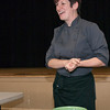 Jasmine Biernacki offered a cooking demonstration with a green bean salad with bacon and croutons.