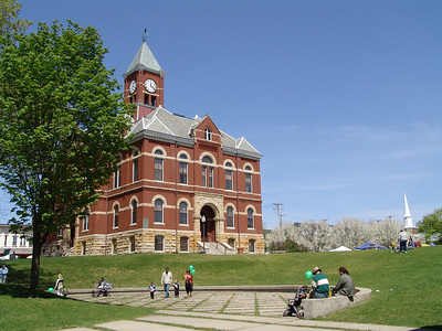 Shot of the Historic Livingston County Courthouse 2008 opening day of the Howell Farmers' Market Farmers Market